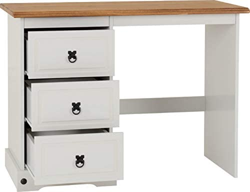 Seconique Corona 3 Drawer Dressing Table, Grey/Distressed Waxed Pine, 104.5 x 48 x 79 cm