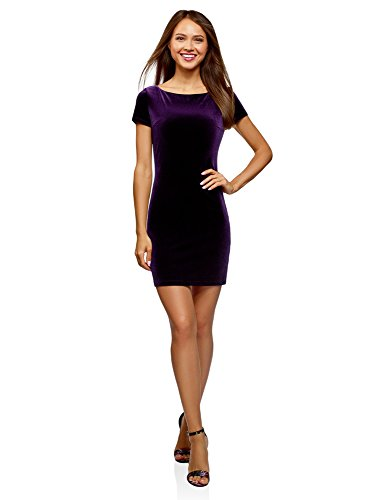 (oodji Ultra Women's Boat Neck Velvet Dress, Purple, 4)