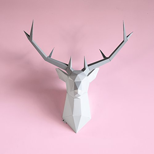 - Brownfolds DIY Paper Wall Trophy; Origami Deer Head Wall Decor Art Piece; Pre-Cut and Scored Paper Templates