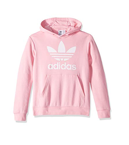 Pink Hoodie Sweatshirt - adidas Originals Boys' Big Trefoil Hoodie, Light Pink/White, Medium