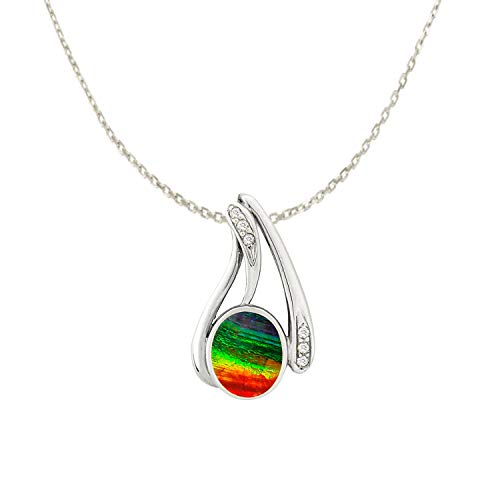 Designed by Ellen Natural AAA Ammolite Diamond Pendant Necklace in 14K White Gold