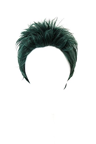 [Ryu - Hunter Green 3'' Short Spiky Combed Back Wig with no Part] (Short Green Wig)