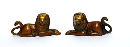 (Klera Pair Of Brass Lion Sitting Statue Figurine Home Decor Gift)
