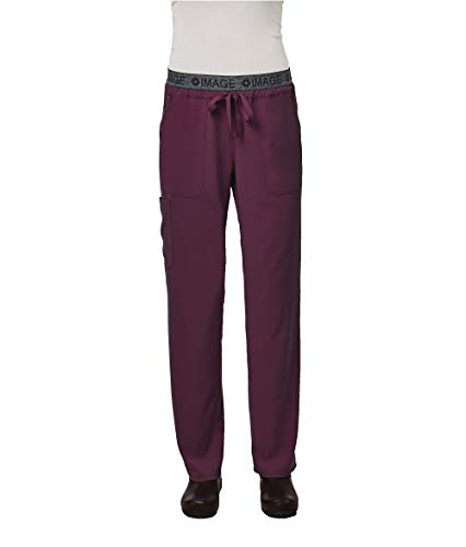 IMAGE by Alexander's Uniforms IM1310 Women's Yoga Style Imprinted Waistband Pant (Wine, Small)