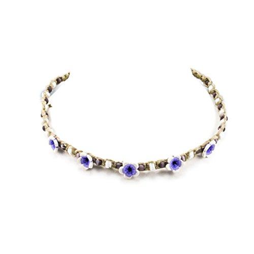 Cat Necklace Eye Choker (Hemp Choker Necklace with Shells, Purple Cats Eye Beads and Purple 3D Fimo Flowers)