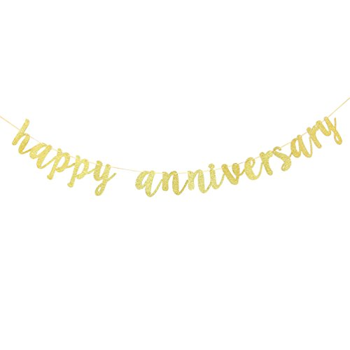 INNORU Happy Anniversary Banner - Gold Glitter Birthday Sign - Wedding Anniversary Party Decoration Photo Props
