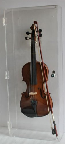 Fiddle, Violin Display Case Shadow Box with Hanger, Clear Arcylic, with Lock (AC-VD03)