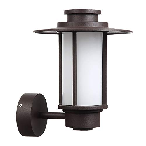VOVOVO LED Outdoor Wall Light, Black Metal Cage w/Frosted Glass, 600 Lumens,3000K Warm White