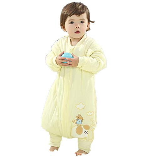 Baby Sleeping Bag with Legs Warm Lined Winter Winter Sleeping Bag with Foot(Yellow M(31.5-35.4in(Thicken)))