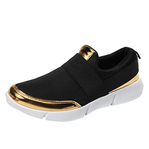 (FORUU Women Mesh Casual Loafers Breathable Flat Shoes Soft Running Shoes Gym Shoes BK Black)