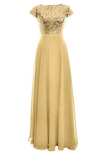 Chiffon Sequin Party Gold Light Women Sleeve Wedding Long MACloth Birdesmaid Gown Cap Dress wgaqR6