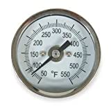 Industrial Grade 1NFW7 Thermometer, Dial Size 2 In, 50 to 550 F