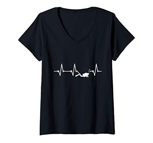 Womens Scuba Diving Heartbeat Gift V-Neck T-Shirt