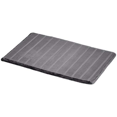 Amazon Basics Striped Memory Foam Bath Mat – Small, Grey