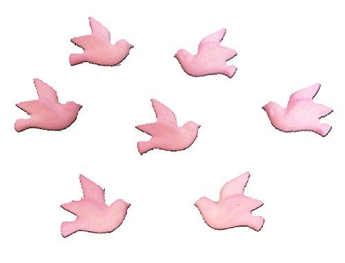 12pk Edible Shimmer Wedding Baptism Pink Doves Cake / Cupcake Sugar Decoration Toppers