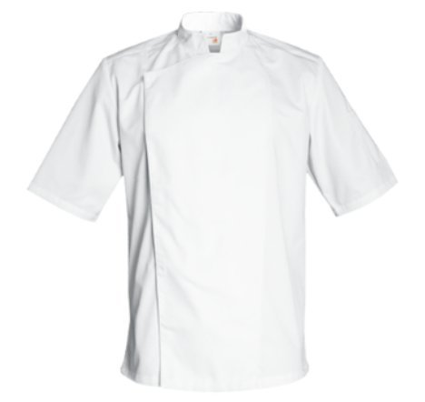 FIRENZE Short Sleeve Culinary Chef Jacket with Mandarin Collar by Clement Design (M - 36/38 - T1, White)
