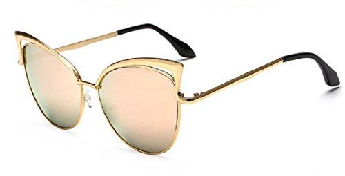 YABINA Sexy Cateye Women Sunglasses Oversized Metal Frame Flat Mirrored Lens - Sunglass H