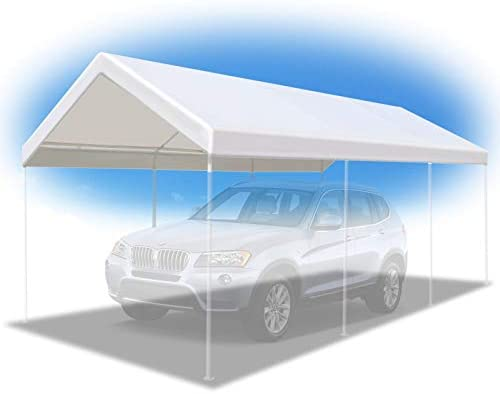 BenefitUSA 10 x20 Carport Replacement Canopy Garage Top Tarp Shelter Cover w Cable Ties, Canopy ONLY w Edge