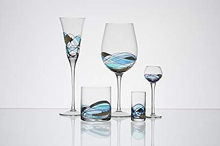 ART ESCUDELLERS Vasos de Whisky Originales Artesanales y Pintadas a Mano por Artistas Europeos de Cristal, Colección Aqua