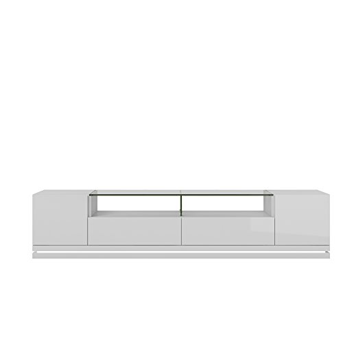 Manhattan Comfort Vanderbilt Collection Contemporary TV Stand with Drawers and LED Lights, 85.4 L x 17.6 D x 19.5 H, White Gloss