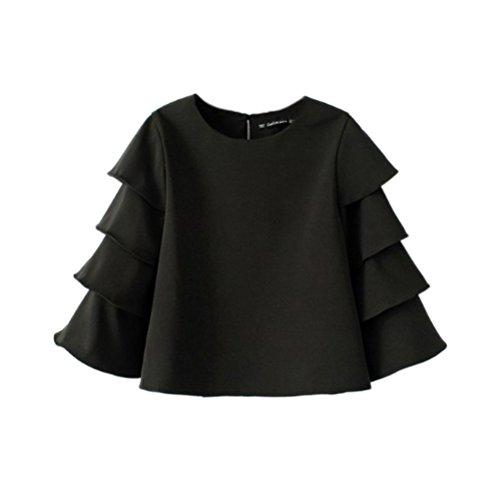 Women's Boat Neck Short Sleeve Blouse (Black/White) - 3