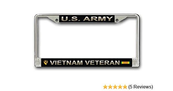 """Army Combat Veteran License Plate Tag Frame Chrome Metal /""""Made in the USA/"""""""