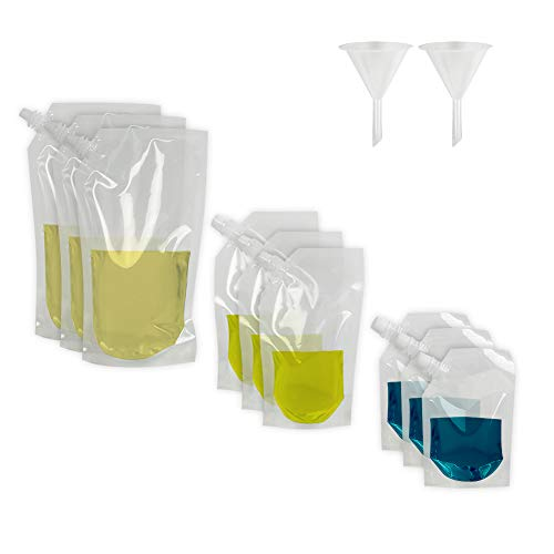 HRX Package Concealable Cruise Travel Flasks Kit, Reusable Clear Plastic Booze bags With 2 Funnels, Sneak Alcohol Anywhere with 3×34 oz,3×14oz,3×8oz