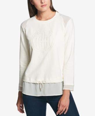 s Sheer Trim Monogram Sweatshirt Ivory XL ()