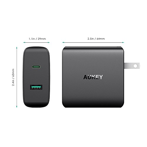 AUKEY USB-C Charger with 46W USB-C Power Delivery 3.0 & 5V/2.1 Ports USB Wall Charger for MacBook/Pro, Dell XPS, Nintendo Switch, iPhone X/8/Plus, Samsung Note8 and More