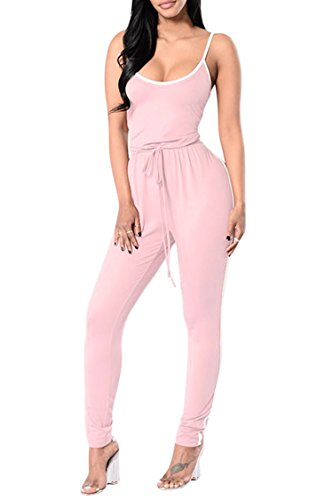Pink Queen Women's Sexy Sleeveless Camisole Strappy Activewear Catsuits Onepiece (Pink Catsuit)