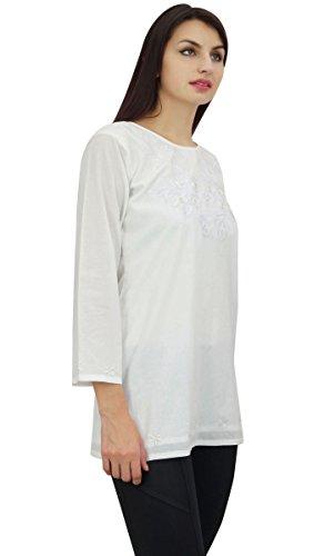 La Diseño Elegante Tapa De Floral Blanco Mujeres Bordado Verano Desgaste Del Phagun Túnica xwT8ARq