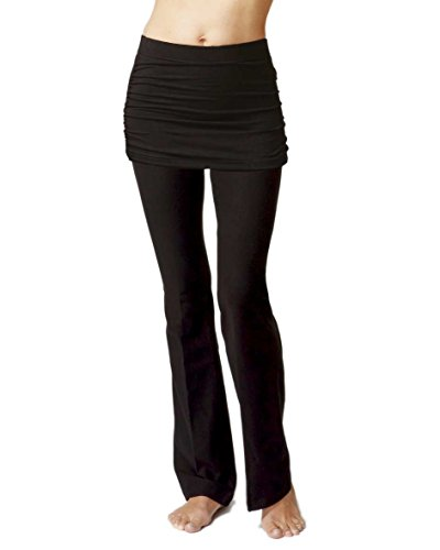 Womens Slimming Shaping Gathered Skirted Bootcut Pants with Skirt-Reg-XL-Black
