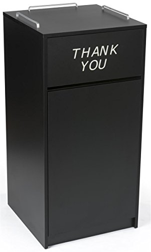 Displays2go 36 Gallon Commercial Waste Bin, Restaurant & Food Court Common Areas, Recycling & Tray Storage, Black (LCKDCHTTBK) - Food Court Receptacle