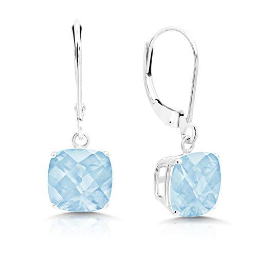 - 14k White Gold Aquamarine Dangle Leverback Earrings (8mm)