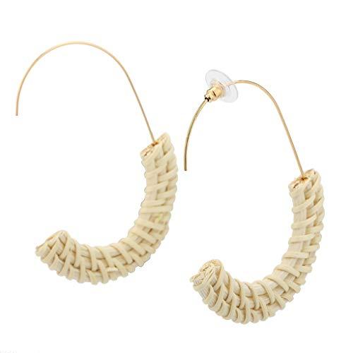 Outeck Women Rattan handmade Earrings Bohemian Straw Wicker Braid Geometric Semicircle Dangle Earrings (Beige)