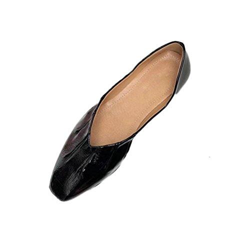 Casual zapatos señoras Mujeres profunda de solteros Zapatos Tacones planos poco abuela boca QPYC de Plaza la black de cómodo las cabeza IHZPwxCq