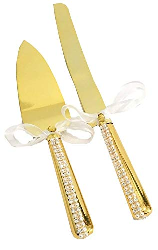 Gold Cake Knife And Server Set White Pearl Rhinestones Stainless Steel Handles All Occasion Wedding, Sweet 16 Anniversary