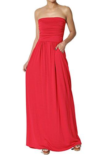 TheMogan Women's Strapless Draped Jersey Pocket Long Maxi Dress Red (Shirred Waist Knit Dress)