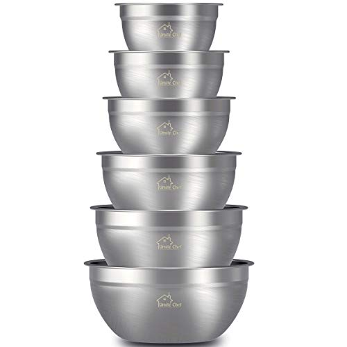 Mixing Bowls Stainless Steel, Thickened Premium Nesting Bowls by Umite Chef, Matte and Mirror Finish, For Healthy Meal, Nesting and Stack able, Set of 6 Sizes 1.59, 2.11, 2.85, 3.59, 4.65, 5.50 QT by Umite Chef
