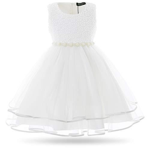 CIELARKO Girls Dress Children Beading Birthday Party Wedding Dresses for 2-11 Years (2-3 Years, White)]()