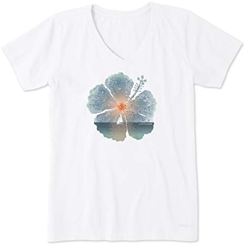 Life is Good Womens Flower Garden Graphic T-Shirt V-Neck Collection,Hibiscus,Cloud White,Large