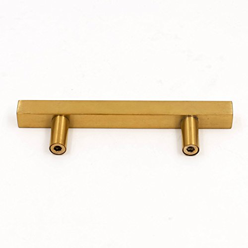 goldenwarm 3in Gold Drawer Pulls Brushed Brass Cabinet Pulls 15 Pack - LS1212GD76 Gold Drawer Knobs Kitchen Hardware Bathroom Cabinet Knobs Door Handle 5in(128mm) Overall Length by goldenwarm (Image #4)
