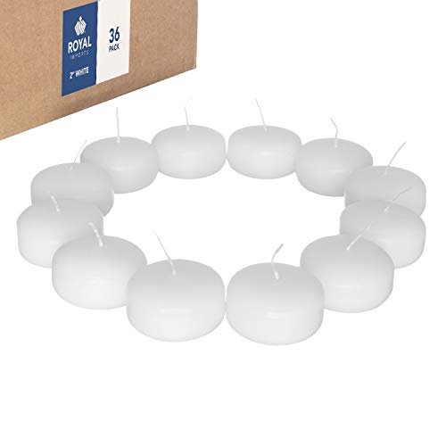 Royal Imports Floating disc Candles for Wedding, Birthday, Holiday & Home Decoration, 2 Inch, White Wax, Set of 36