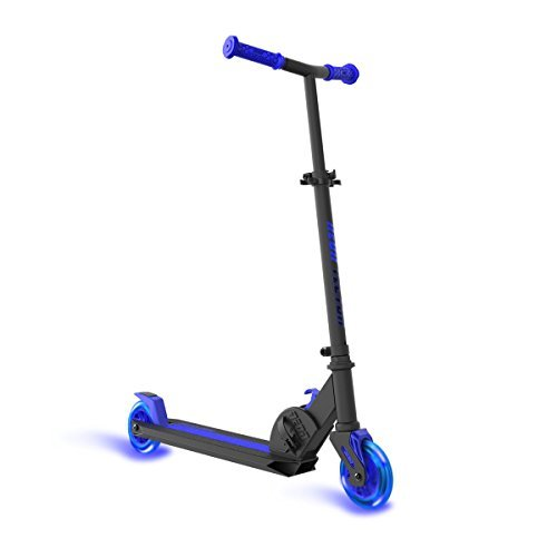Neon Kick Scooter Vector Blue for Kids, Foldable with LED Light-up Wheels