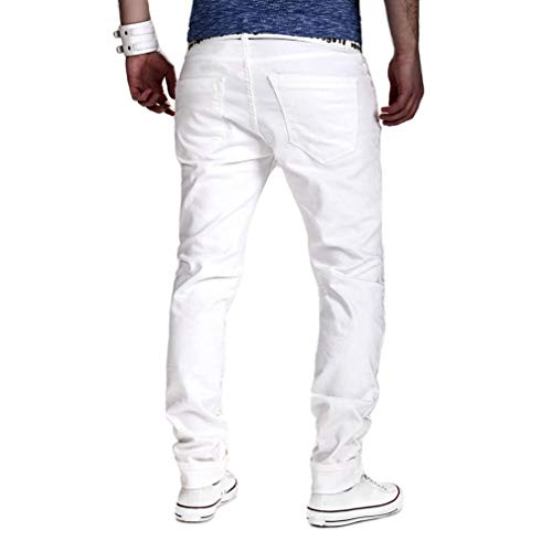 Alimao Autumn Pants Mens Stretchy Ripped Skinny Biker Jeans Destroyed Taped Slim Fit Denim Trousers by Alimao (Image #2)