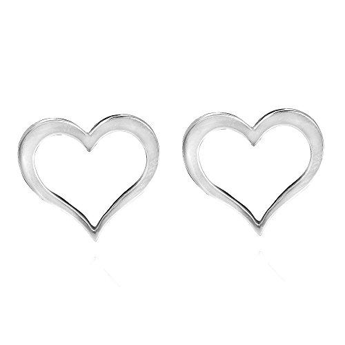 rt .925 Sterling Silver Stud Earrings (Loving Heart Earrings)