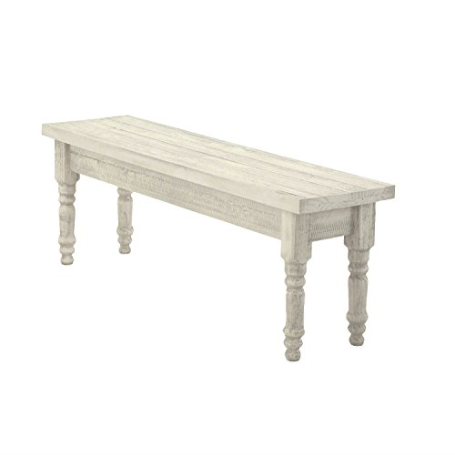 Modern Rustic Pine Wood Backless Dining Bench - Includes Modhaus Living Pen (Rustic Off-White)