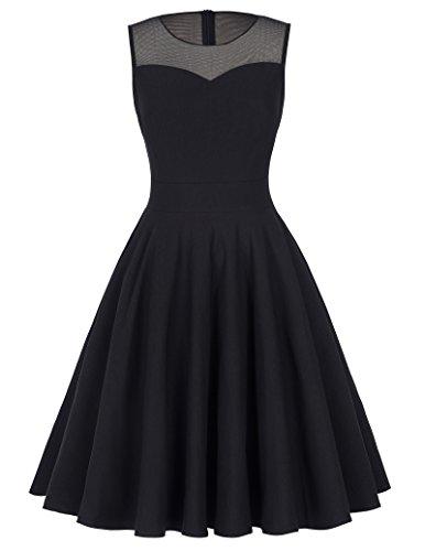 Kate Kasin Black Elastic Sleeveless A line Round Neck Dress Prom Party Dress M KK391-1,M