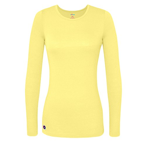 Sivvan Women's Comfort Long Sleeve T-Shirt/Underscrub Tee - S8500 - Citron - M - Yellow Long Sleeved Shirt
