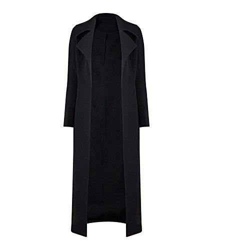 Long Black Trench Coat - 2
